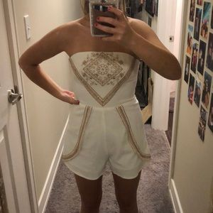 Strapless White romper with gold detailing